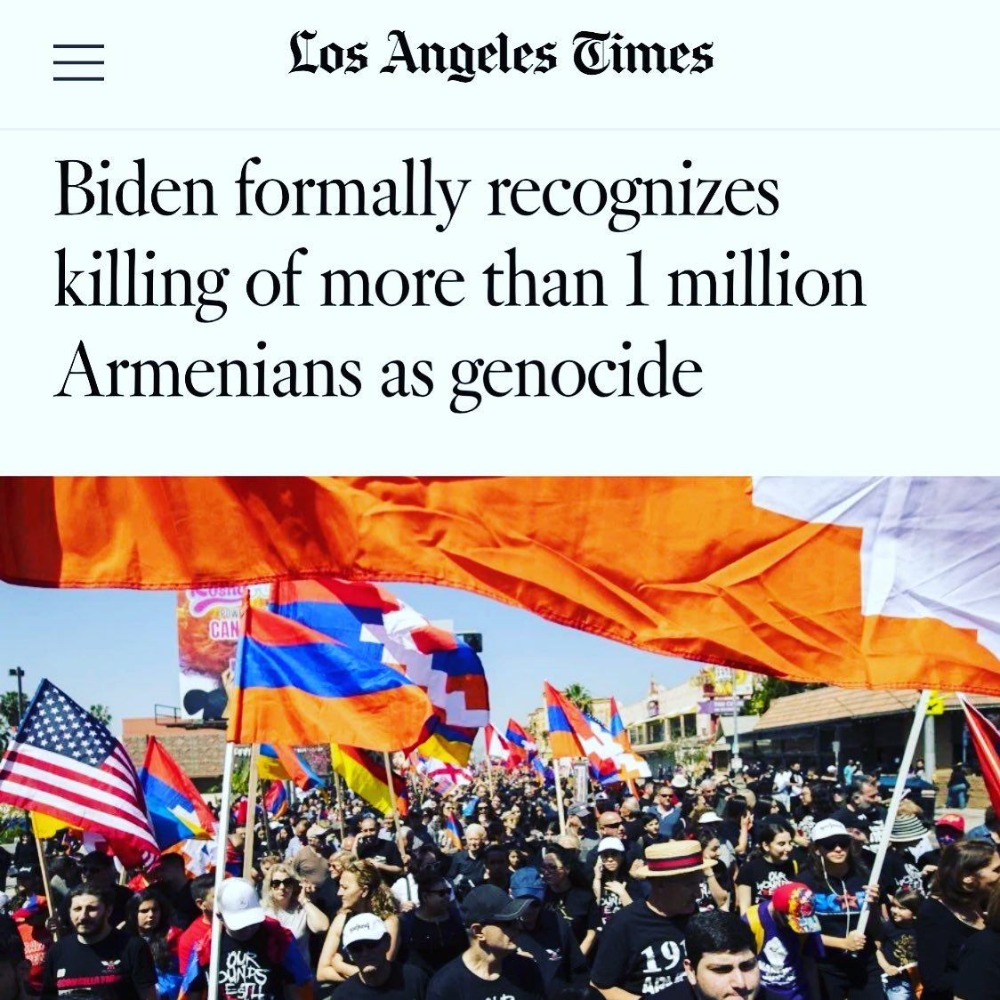 My grandparents met as orphans after their entire families were systematically murdered in the Armenian Genocide. Today is a historic day that finally honors the lives we all lost. #1915neveragain